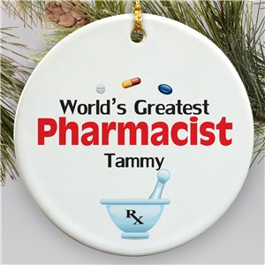 Personalized Ceramic Pharmacist Ornament U384710