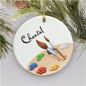 Personalized Ceramic Artist Ornament | Personalized Artist Christmas Ornaments