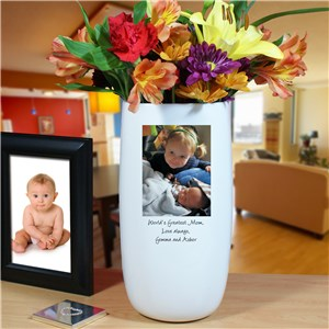 Personalized Ceramic Family Photo Vase | Photo Gifts For Mom