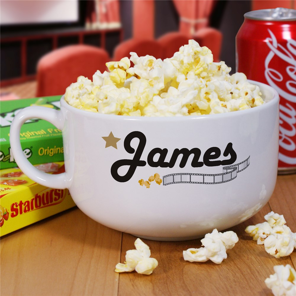 Personalized Ceramic Movie Night Popcorn Bowl | Personalized Bowl
