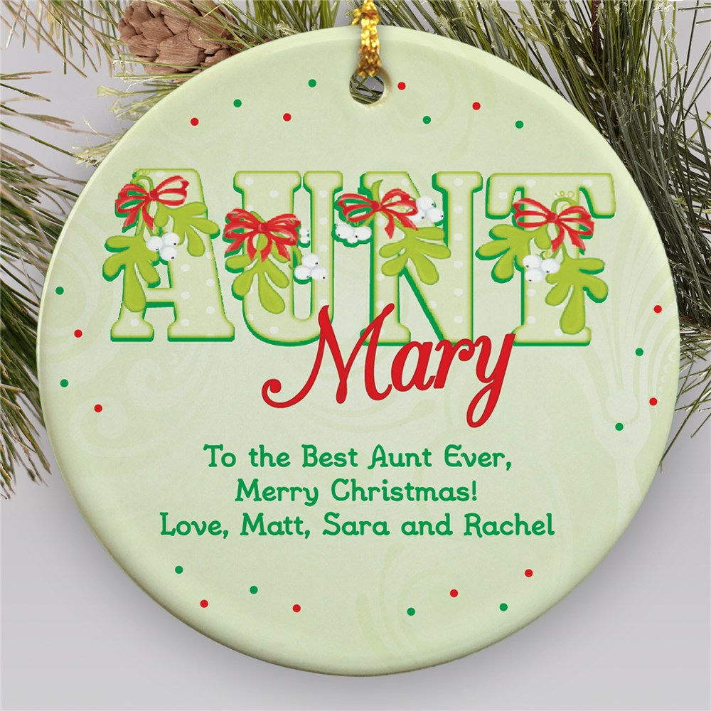 Personalized Ceramic Aunt Ornament | Personalized Family Ornaments
