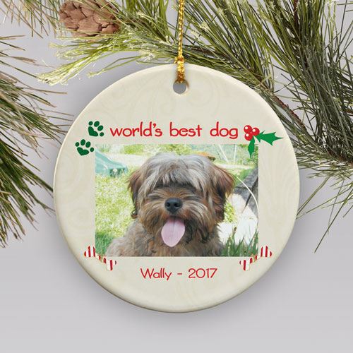Personalized Ceramic Dog Photo Ornament | Personalized Pet Ornaments
