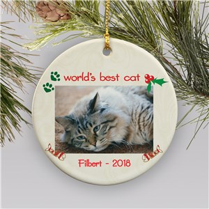 Personalized Ceramic Cat Photo Ornament | Personalized Cat Christmas Ornaments