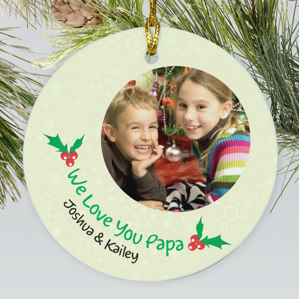 Personalized Ceramic Holly Photo Ornament | Picture Ornaments