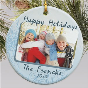 Ceramic Happy Holidays Photo Ornament | Christmas Ornaments Personalized