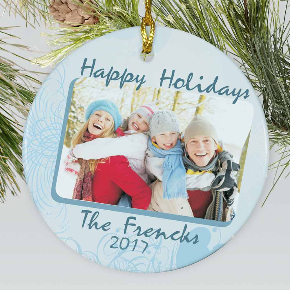 Personalized Ceramic Happy Holidays Photo Ornament | Christmas Ornaments Personalized