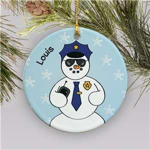 Personalized Ceramic Police Snowman Ornament | Personalized Police Ornaments