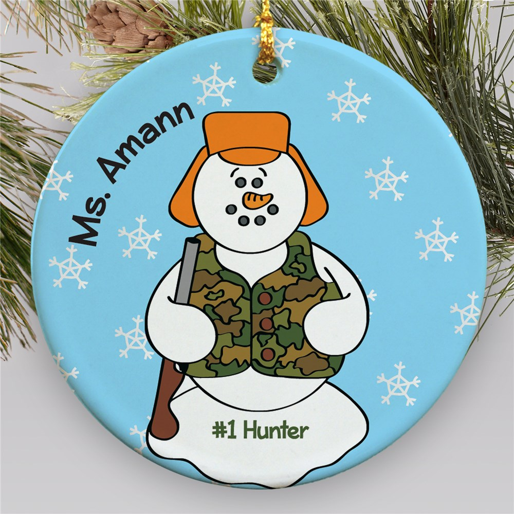 Personalized Ceramic Hunter Snowman Ornament | Personalized Hunting Ornament