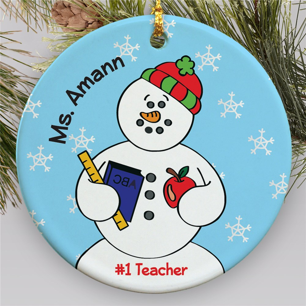 Personalized Ceramic Teacher Snowman Ornament | Personalized Teacher Ornaments