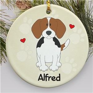 Personalized Ceramic Beagle Ornament | Personalized Pet Ornaments