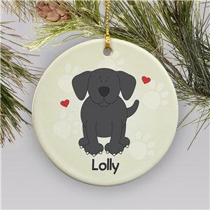 Personalized Ceramic Loved By My Black Lab Ornament | Personalized Pet Ornaments