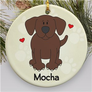 Personalized Ceramic Loved By My Chocolate Lab Ornament U452610
