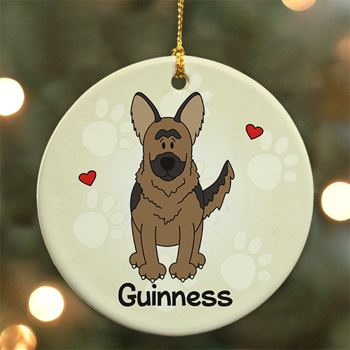 Personalized Ceramic Loved By My German Shepherd Ornament | Personalized Pet Ornament