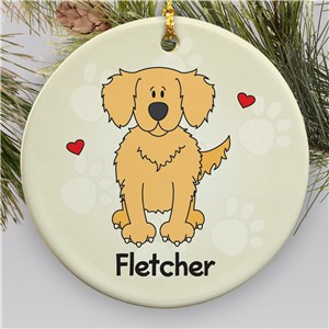 Personalized Ceramic Loved By My Golden Retriever Ornament | Personalized Pet Ornaments