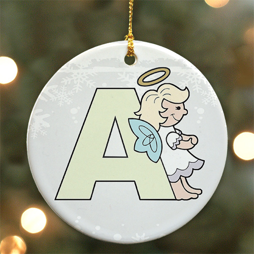 Personalized Ceramic Alphabet Angel Ornament | Personalized Christmas Ornaments For Kids