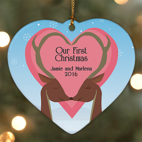Personalized Ceramic Heart Our First Christmas Ornament | Couples First Christmas Ornament