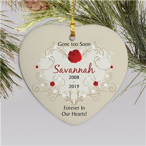 Ceramic Heart Personalized Memorial Ornament | Memorial Christmas Ornaments