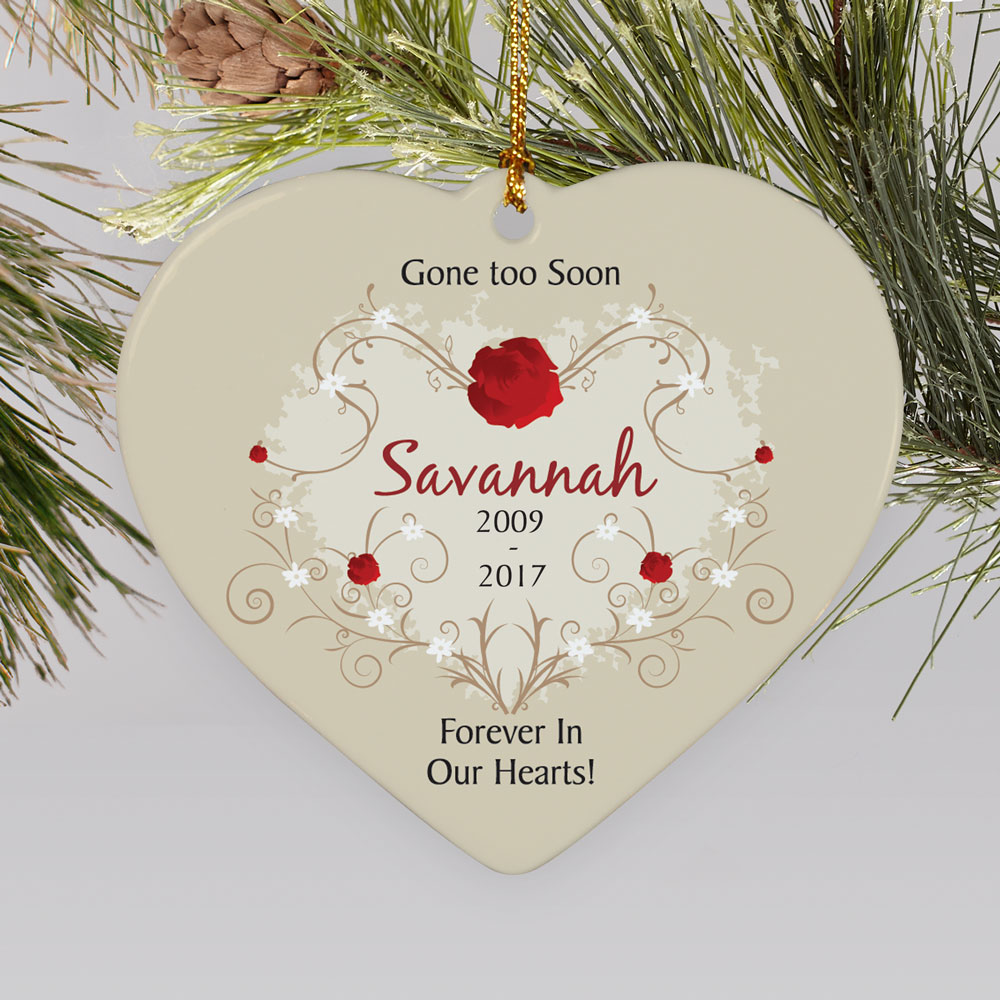 Personalized Ceramic Heart Memorial Ornament | Memorial Christmas Ornaments