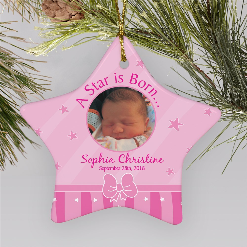 Baby's First Christmas Girl Photo Ornament | Baby's First Christmas Ornaments