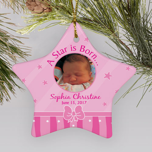 Personalized Ceramic Star New Baby Girl Photo Ornament | Baby's First Christmas Ornaments