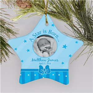 Personalized Ceramic Star New Baby Boy Ornament | Baby's First Christmas Ornaments