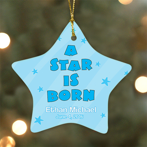 Personalized Ceramic Baby Boy Star Ornament | Baby's First Christmas Ornaments