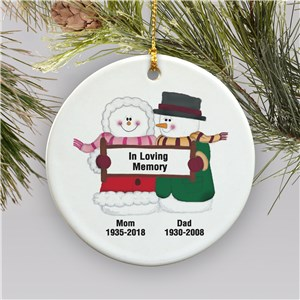 Snowman Couple Personalized Memorial Ornament | Memorial Christmas Ornaments