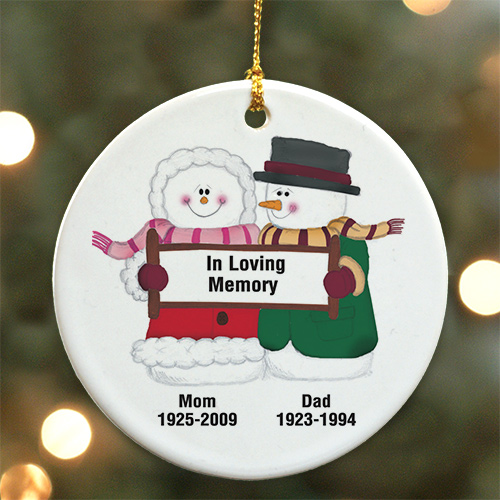 Personalized Ceramic Forever In Our Hearts Snow Couple Memorial Ornament | Memorial Christmas Ornaments