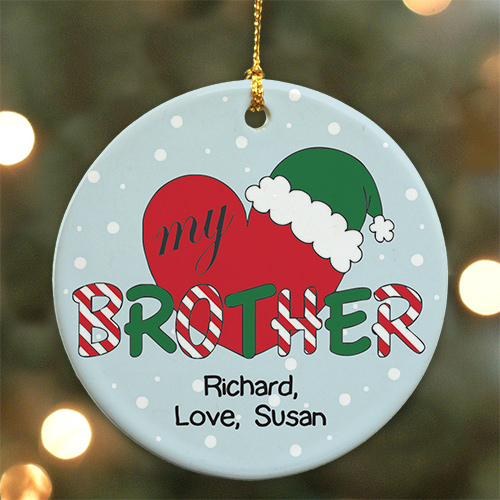 Personalized Ceramic Heart My Brother Ornament U488410