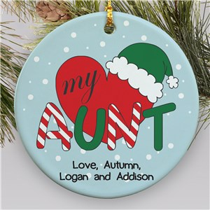 Personalized Ceramic Heart My Aunt Ornament | Personalized Family Christmas Ornaments