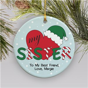 Personalized Ceramic Heart My Sister Ornament | Personalized Family Ornaments