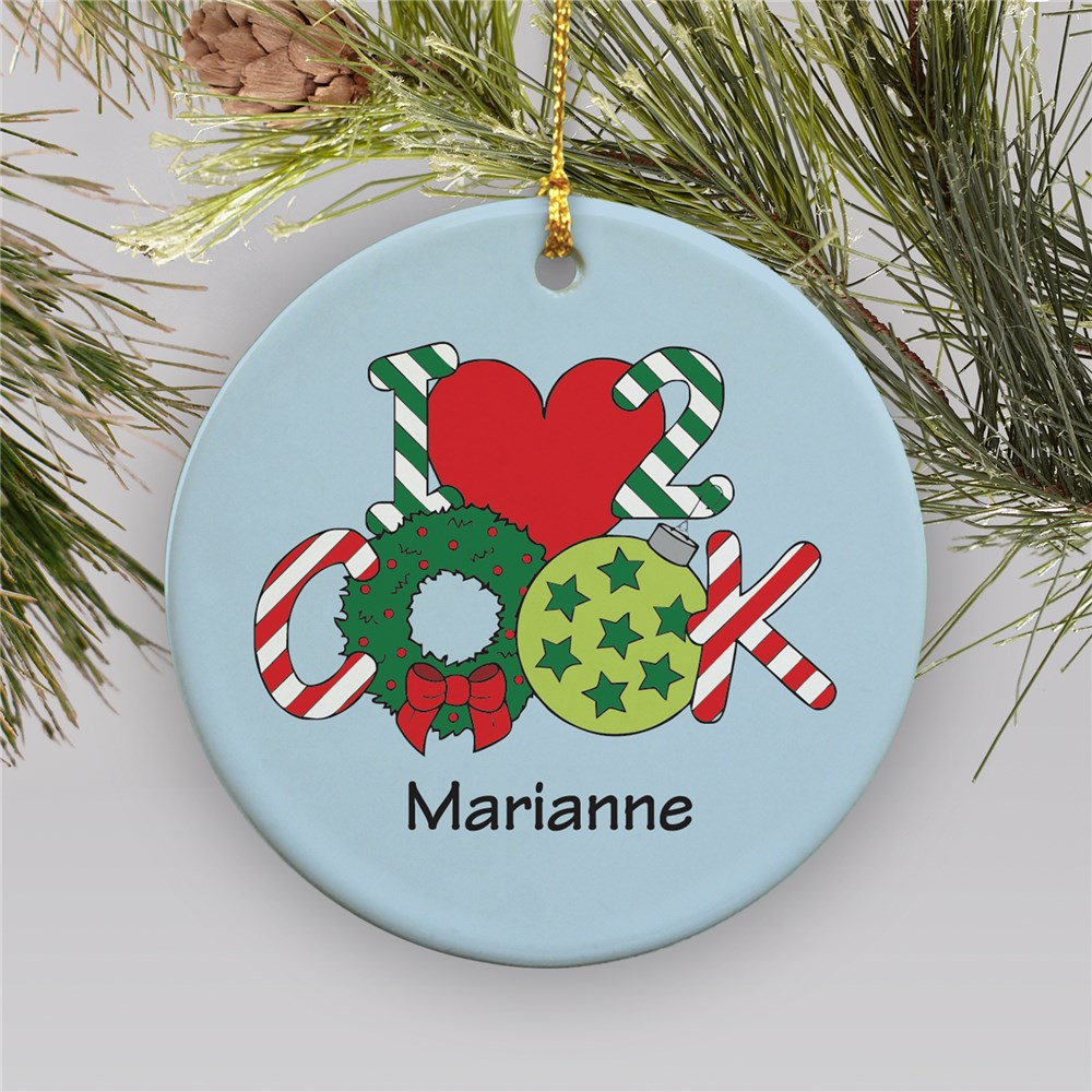 Personalized Ceramic Heart to Cook Ornament | Personalized Christmas Ornaments