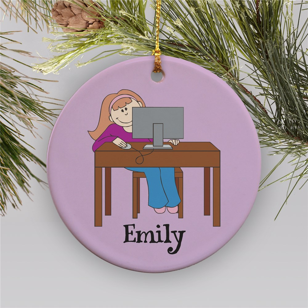 Personalized Computer Ornament | Ceramic | Personalized Christmas Ornaments For Kids