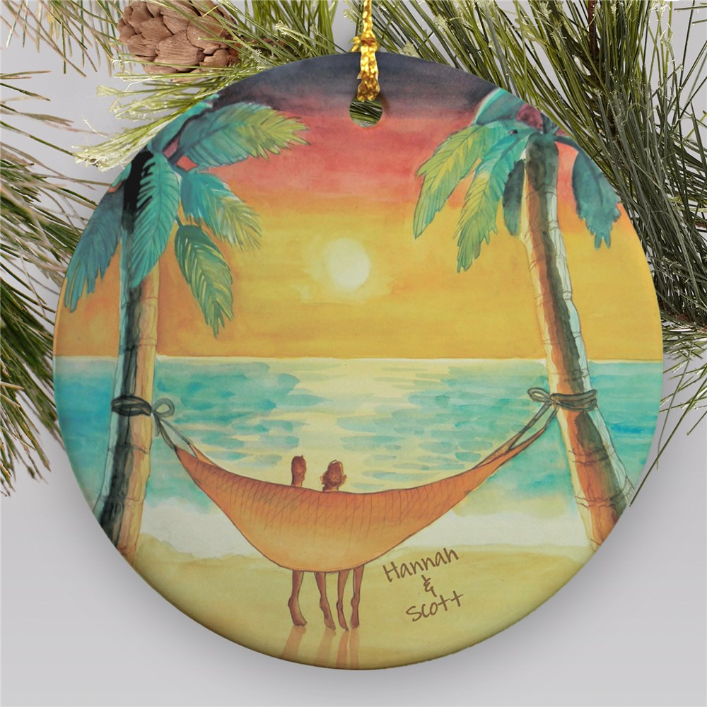 Personalized Beach Sunset Ornament | Personalized Couples Ornament