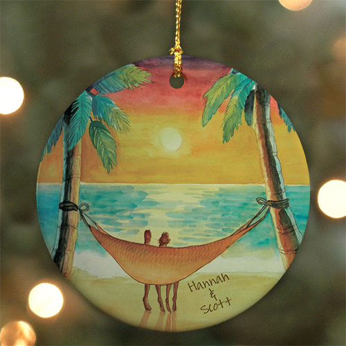 Personalized Ceramic Beach Sunset Ornament | Personalized Couples Ornament
