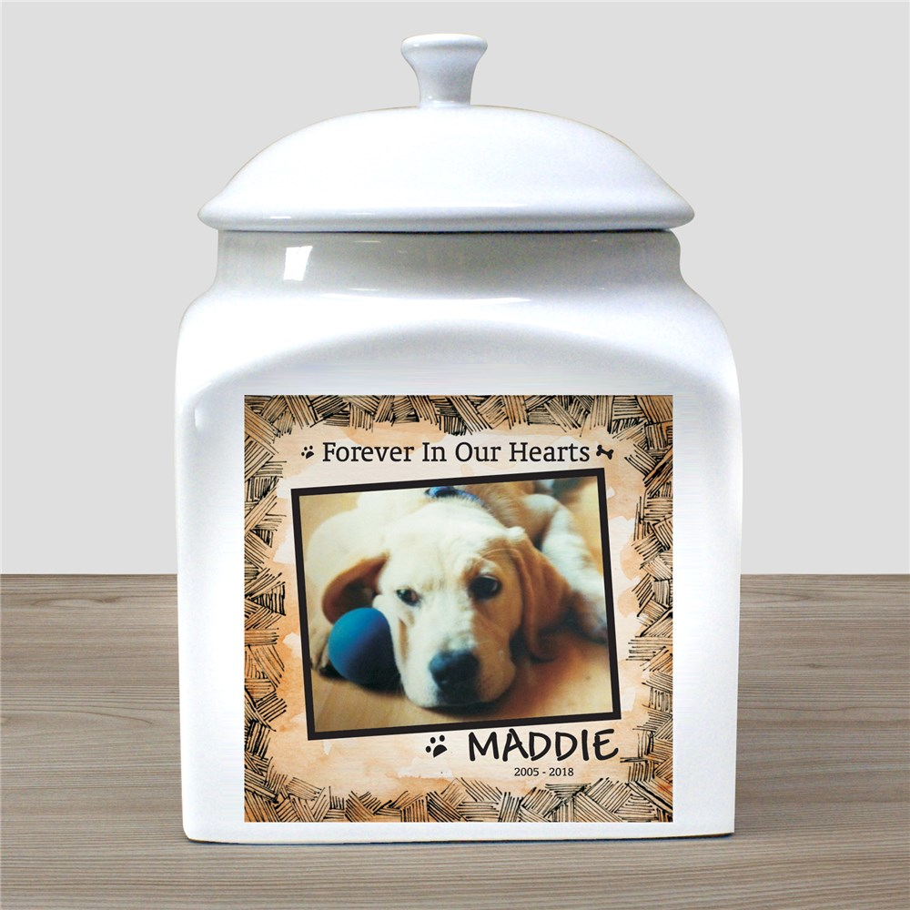 Personalized Ceramic Dog Photo Urn | Pet Memorial