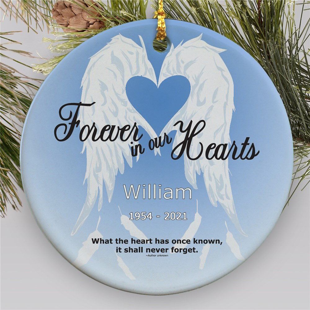 Forever In Our Hearts Ceramic Personalized Memorial Ornament | Memorial Ornaments