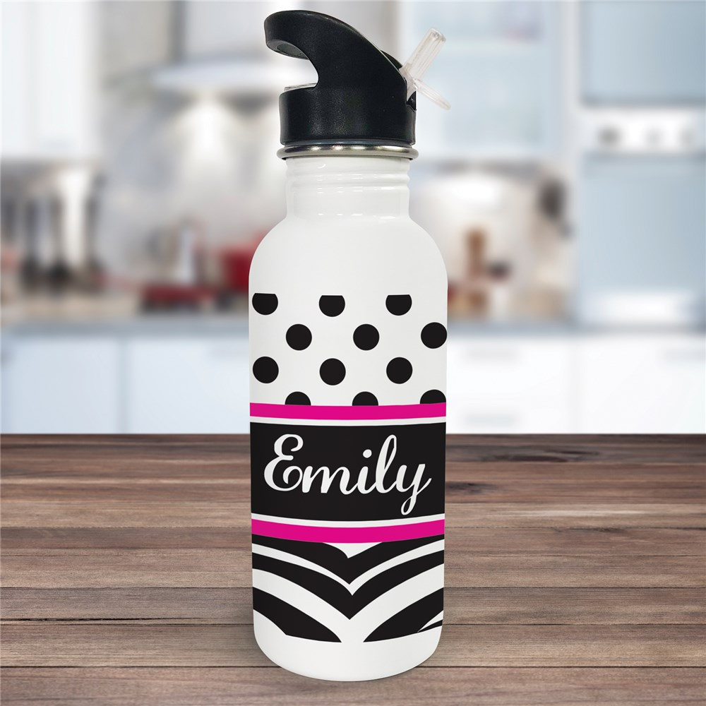 Personalized Zebra Print Water Bottle U594320
