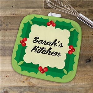 Personalized Holly Leaves Pot Holder | Personalized Christmas Decor