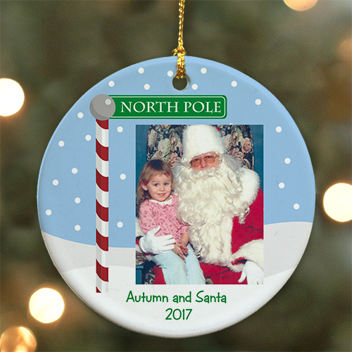 Personalized Ceramic Visit With Santa Ornament | Picture Ornaments