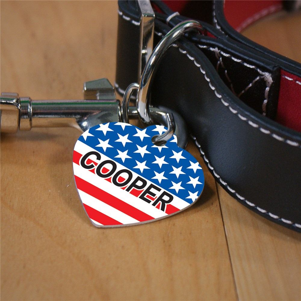 Patriotic Pet Tag | Red White And Blue Pet Tag