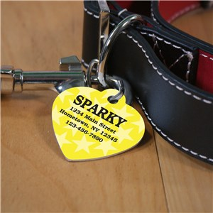 Personalized Yellow Stars Heart Pet Tag U664656H