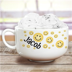 Personalized Ceramic Smiley Face Ice Cream Bowl U670223