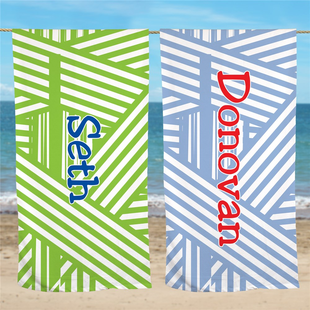 Personalized Stripes Beach Towel U674133