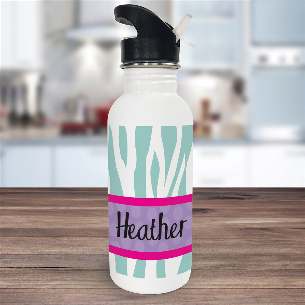 Personalized Zebra Print Water Bottle U674620