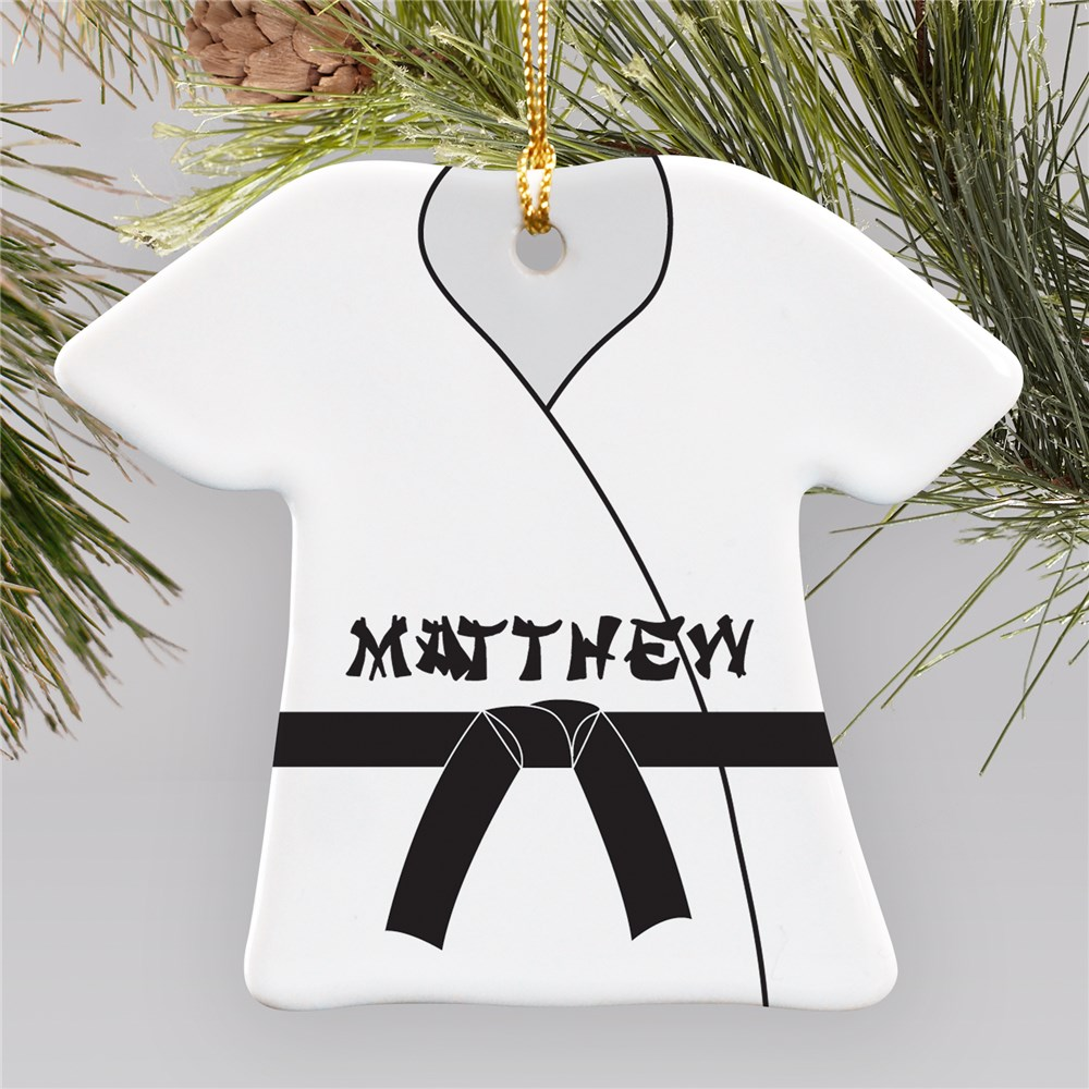 Personalized Ceramic Karate Gi Ornament | Personalized Karate Ornament
