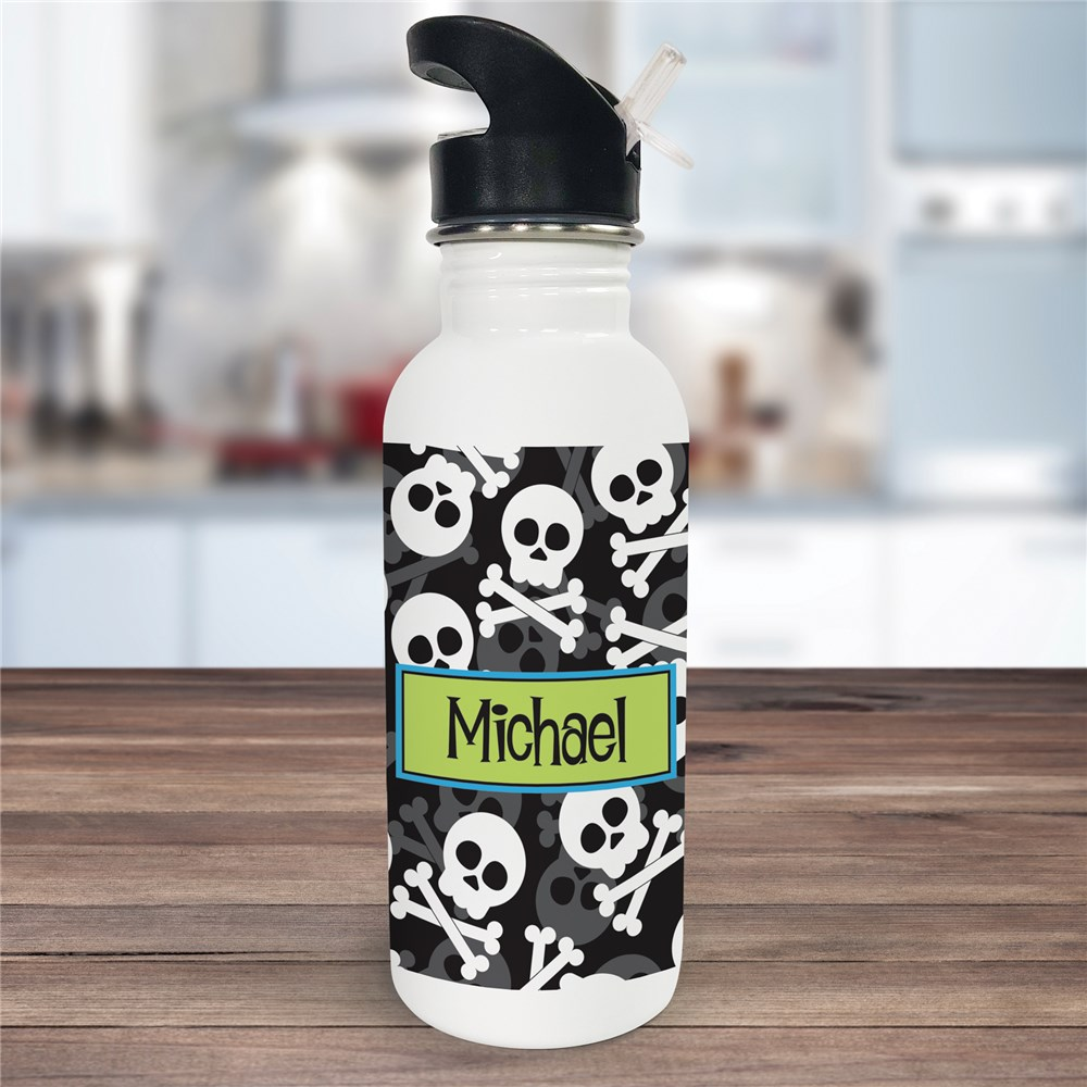 Personalized Skull and Cross Bones Water Bottle U678520