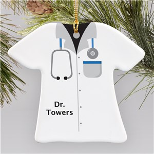 Personalized Ceramic Doctor T-Shirt Ornament | Personalized Doctor Ornament
