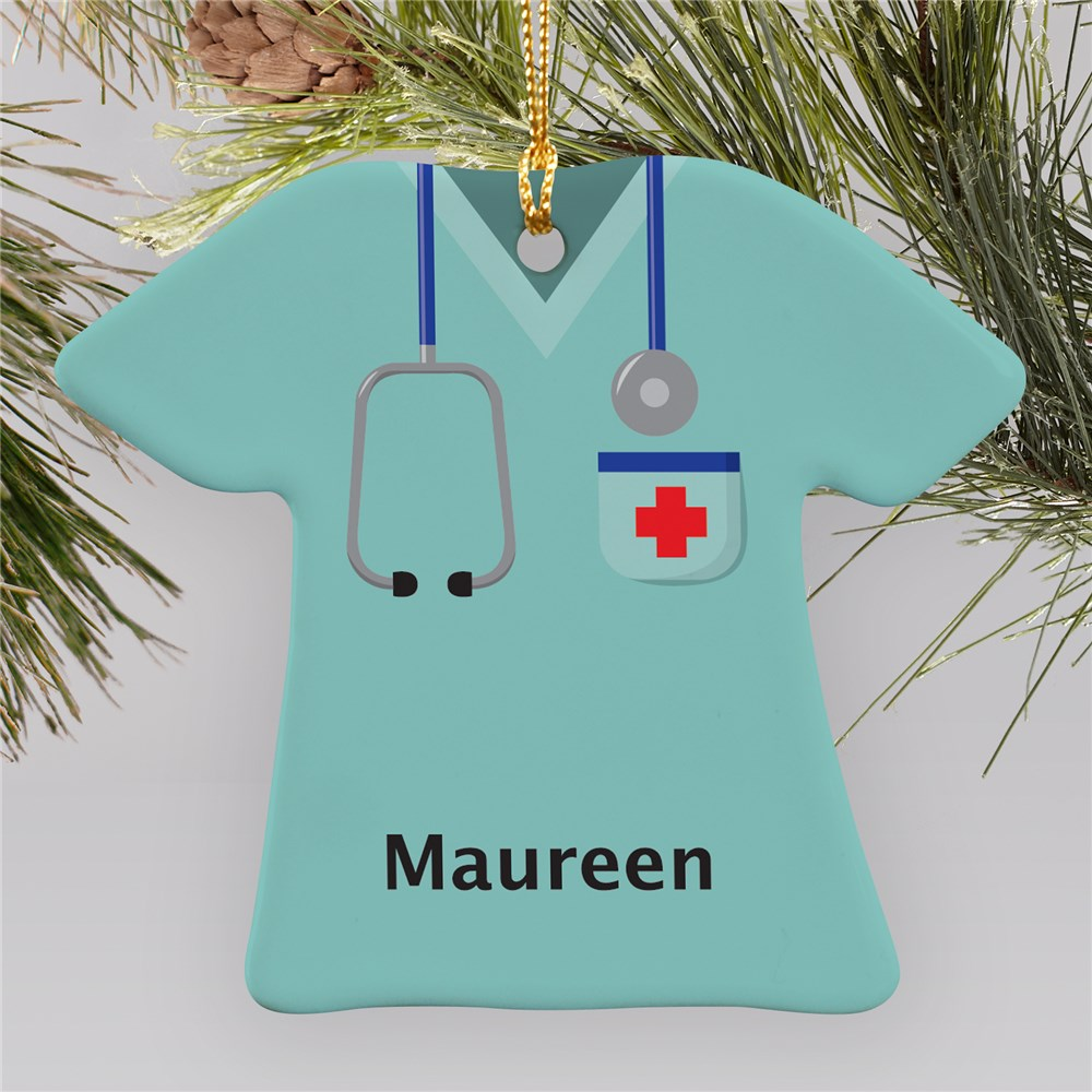 Personalized Ceramic Nurse T-Shirt Ornament | Personalized Nurse Ornaments
