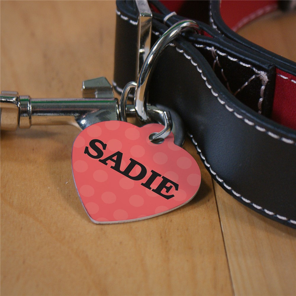 Personalized Pink Polka Dot Heart Tag U706656H